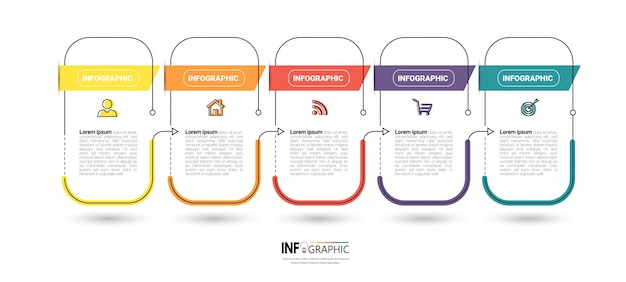 Creative infographic 5 steps template