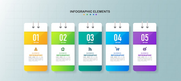 Creative infographic 5 steps template.