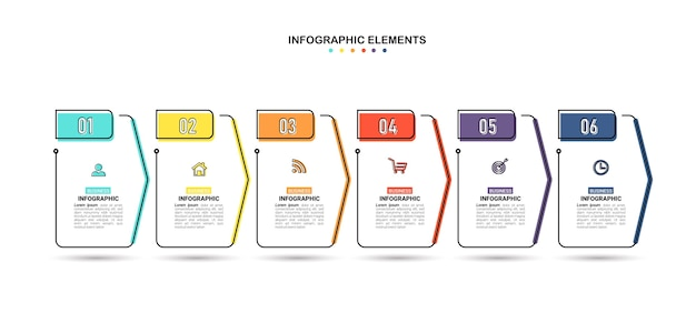Creative infographic 6 steps template