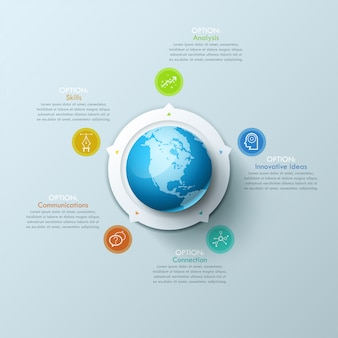 Creative infographic design layout with globe in center, 5 arrows pointing at circular elements and text boxes