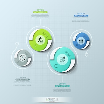 Creative infographic design template with 4 round elements, pictograms, year indication and text boxes.