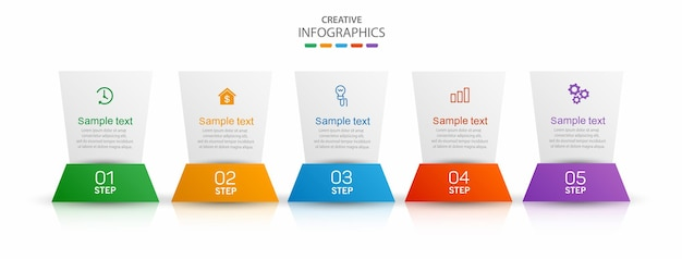 5 가지 옵션 또는 단계가있는 크리에이티브 인포 그래픽 디자인 템플릿