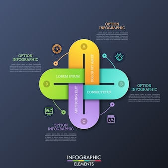 Creative infographic design template with four multicolored chain links connected together, thin line icons and text boxes.
