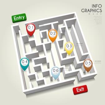 Креативный дизайн инфографики с элементами 3d лабиринта