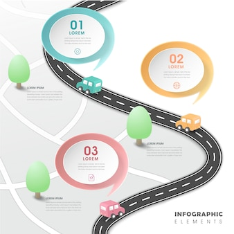 Creative infographic design with flat road elements