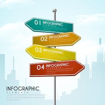 Креативный инфографический дизайн с элементами дорожных знаков