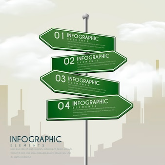 Creative infographic design with road sign elements