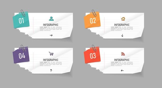 Креативные элементы инфографики в стиле бумаги для заметок