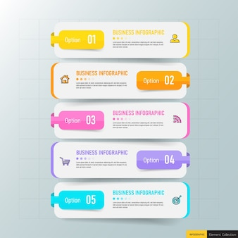 Creative infographic five steps template