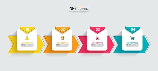 Творческий инфографический шаблон четырех шагов