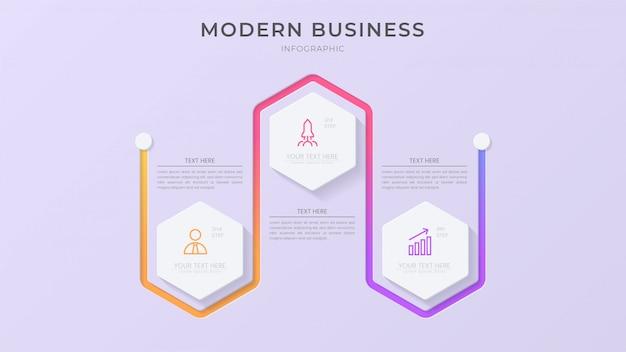 Творческий инфографический элемент процесса со значком и редактируемым текстом