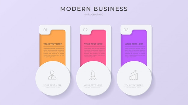 Creative infographic process element with icon and editable text