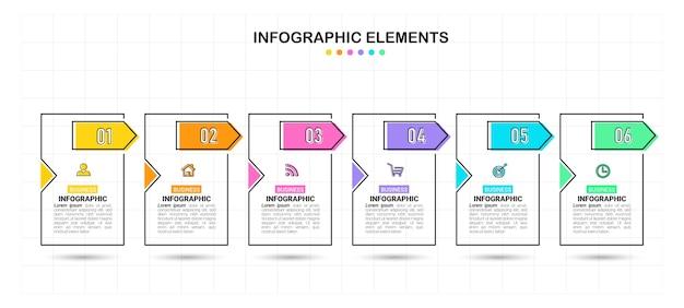 クリエイティブインフォグラフィック6ステップテンプレート