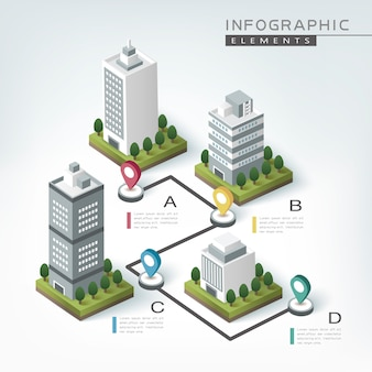 Creative infographic template design with business buildings chart