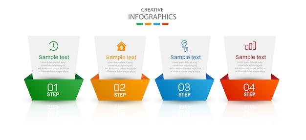 아이콘과 4 가지 옵션 또는 단계가있는 크리에이티브 인포 그래픽 템플릿