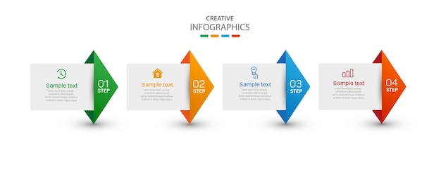 Креативный инфографический шаблон с иконками и 4 вариантами