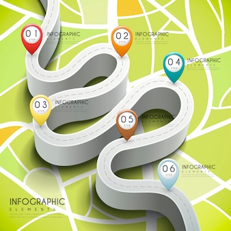 3d 벤딩 도로 및 마커가있는 크리에이티브 인포 그래픽