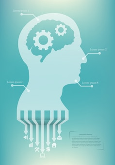 Creative infographic with silhouette head.
