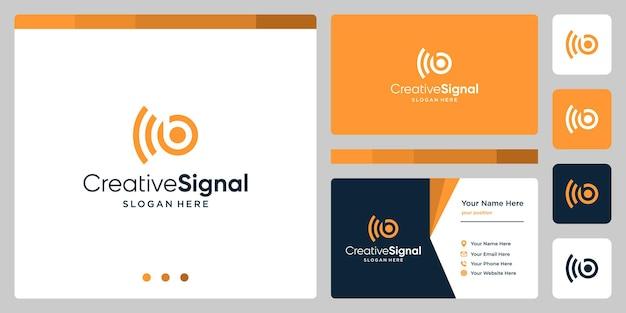 クリエイティブな頭文字bのロゴとwifi信号のロゴ。名刺デザインテンプレート
