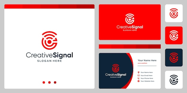 クリエイティブな頭文字cのロゴとwifi信号のロゴ。名刺デザインテンプレート