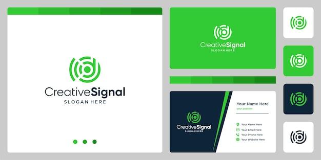 Wi-fi信号ロゴ付きのクリエイティブな頭文字dロゴ。名刺デザインテンプレート