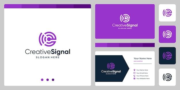 Wi-fi信号ロゴ付きのクリエイティブな頭文字eロゴ。名刺デザインテンプレート