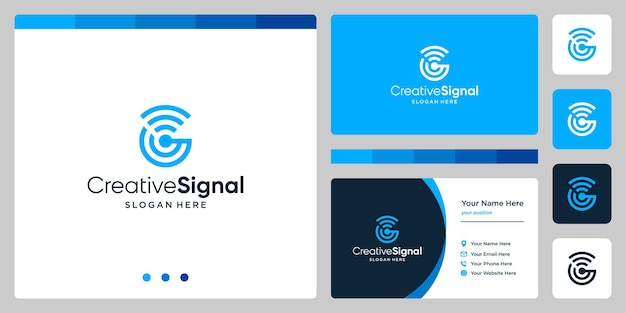 クリエイティブな頭文字gのロゴとwifi信号のロゴ。名刺デザインテンプレート