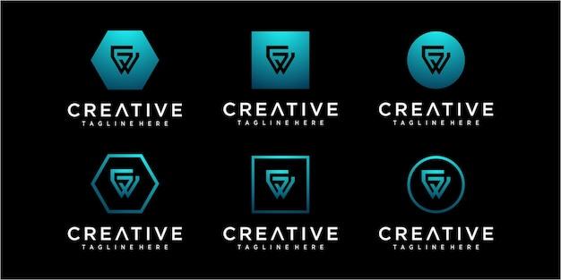 Креативная буквица gw / wg шаблон дизайна логотипа
