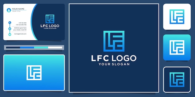 Creative initial letter l, f and c logo in square shape concept. logo and business card inspiration.