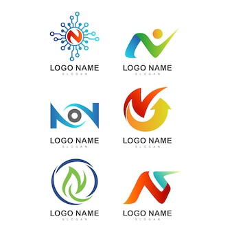 Creative initial letter n logo templates