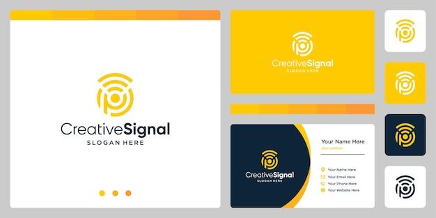 クリエイティブな頭文字のpロゴとwifi信号のロゴ。名刺デザインテンプレート