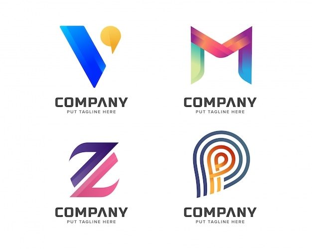 Creative initial type letter set logo template for business