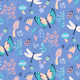 Creative insects and flowers pattern design