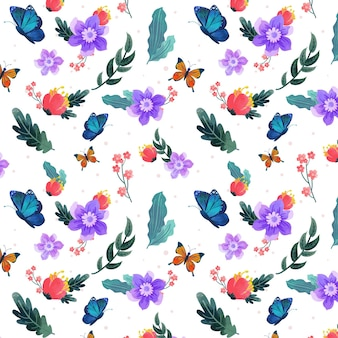 Creative insects and flowers pattern