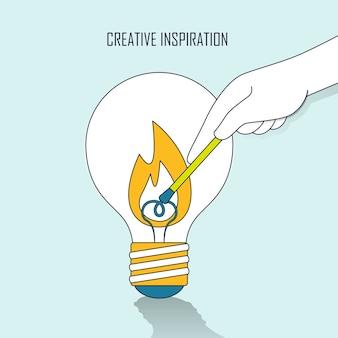 Концепция творческого вдохновения: рука зажигает большую лампочку в стиле линии