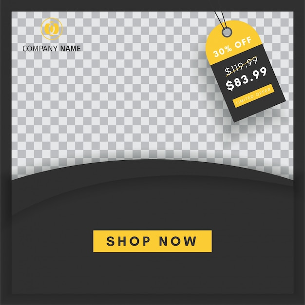 Creative instagram post sales template with a blank  abstract banner