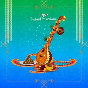 Creative instrument veena for happy vasant panchami celebration background