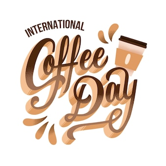 Creative international day of coffee lettering