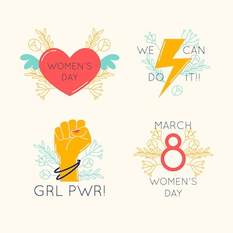 Creative international women's day labels collection