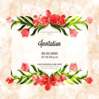 Творческая карточка приглашения с красивыми цветами.