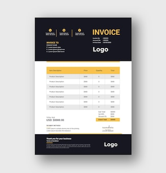 Creative invoice design and invoicing quotes template