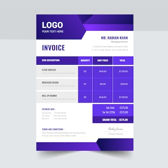 Creative invoice design template blue abstract