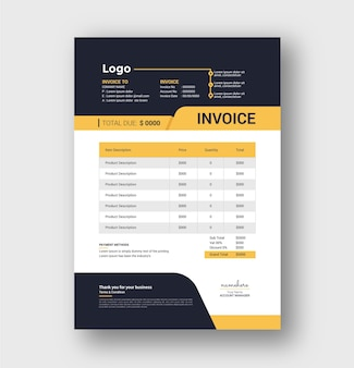 Creative invoice and invoicing quotes template design