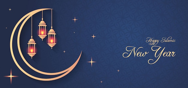 Creative islamic new year design with hanging lanterns