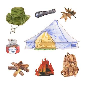 装飾用キャンプ水彩イラストデザインの創造的な孤立した要素。