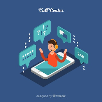 Creative isometric call center concept