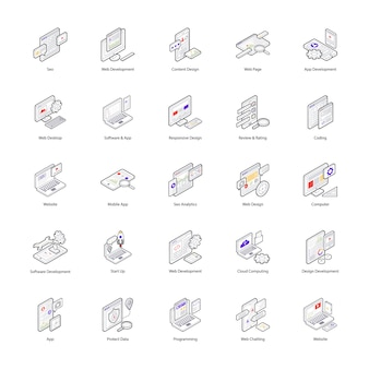 The creative isometric icons set of web design is one of its kind. an exquisite pack to grab the attention for associated enterprise.