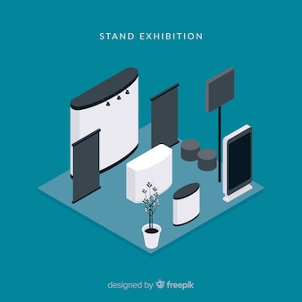 Creative isometric stand exhibition concept