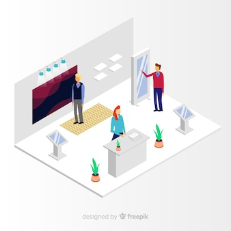 Creative isometric stand exhibition vector