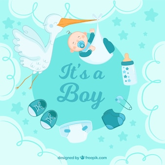 Creative its a boy background with stork